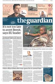 The Guardian (UK) Newspaper Front Page for 21 April 2017