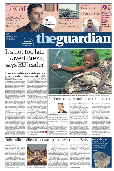 The Guardian Newspaper Front Page (UK) for 21 April 2017