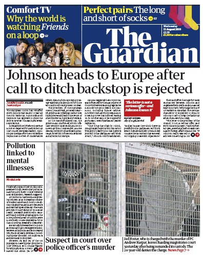 The Guardian Newspaper Front Page (UK) for 21 August 2019