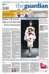 The Guardian Newspaper Front Page (UK) for 21 September 2012