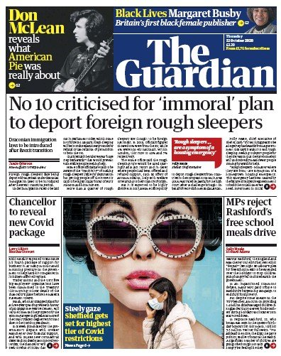 The Guardian Newspaper Front Page (UK) for 22 October 2020