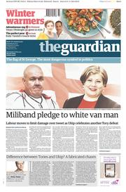 The Guardian (UK) Newspaper Front Page for 22 November 2014