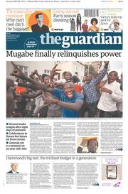 The Guardian (UK) Newspaper Front Page for 22 November 2017