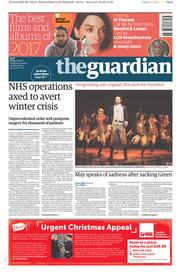 The Guardian (UK) Newspaper Front Page for 22 December 2017