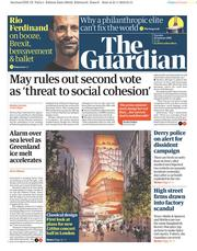 The Guardian (UK) Newspaper Front Page for 22 January 2019