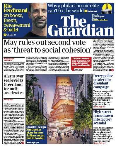 The Guardian Newspaper Front Page (UK) for 22 January 2019