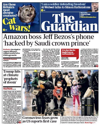 The Guardian Newspaper Front Page (UK) for 22 January 2020