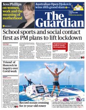 The Guardian front page for 22 February 2021