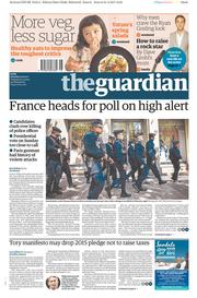 The Guardian (UK) Newspaper Front Page for 22 April 2017