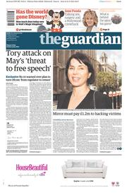 The Guardian (UK) Newspaper Front Page for 22 May 2015
