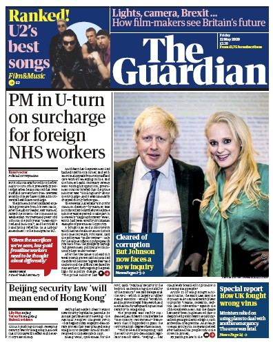 The Guardian Newspaper Front Page (UK) for 22 May 2020