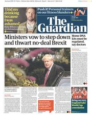The Guardian () Newspaper Front Page for 22 July 2019