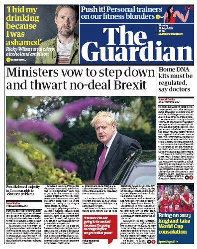 The Guardian Newspaper Front Page (UK) for 22 July 2019