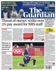 The Guardian () Newspaper Front Page for 22 July 2021