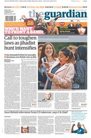 The Guardian (UK) Newspaper Front Page for 22 August 2014