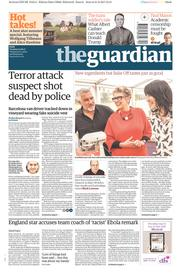 The Guardian (UK) Newspaper Front Page for 22 August 2017