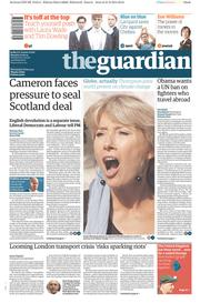 The Guardian (UK) Newspaper Front Page for 22 September 2014