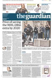 The Guardian (UK) Newspaper Front Page for 23 October 2014