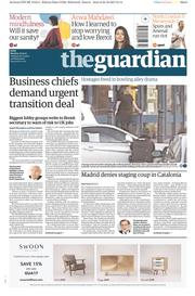 The Guardian (UK) Newspaper Front Page for 23 October 2017