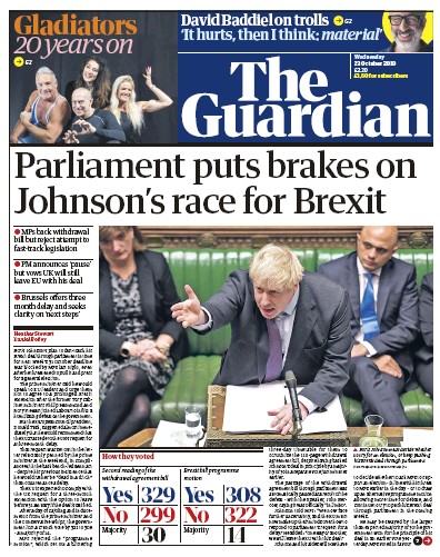 The Guardian Newspaper Front Page (UK) for 23 October 2019