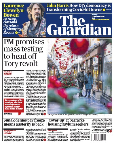 The Guardian Newspaper Front Page (UK) for 23 November 2020