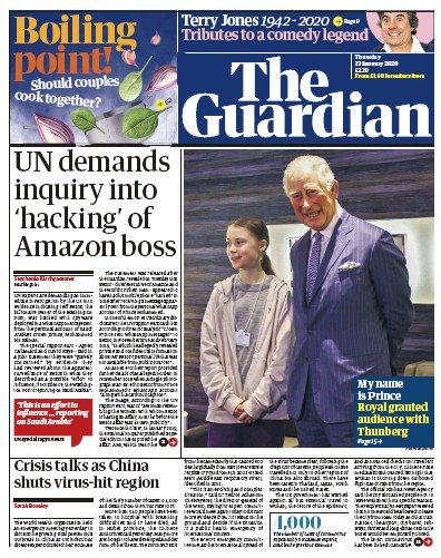 The Guardian Newspaper Front Page (UK) for 23 January 2020