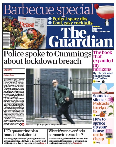The Guardian Newspaper Front Page (UK) for 23 May 2020