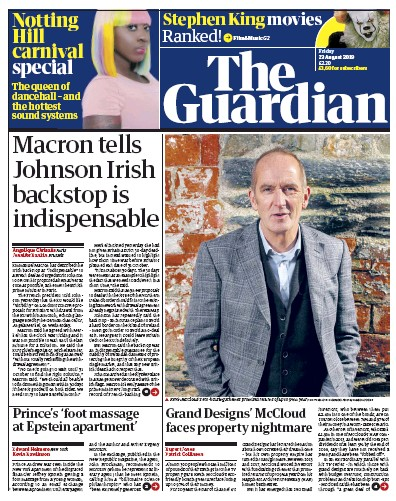 The Guardian Newspaper Front Page (UK) for 23 August 2019