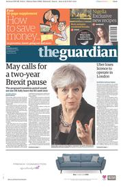The Guardian (UK) Newspaper Front Page for 23 September 2017
