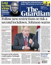 The Guardian front page for 23 September 2020