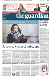 The Guardian (UK) Newspaper Front Page for 24 October 2014