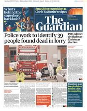The Guardian (UK) Newspaper Front Page for 24 October 2019