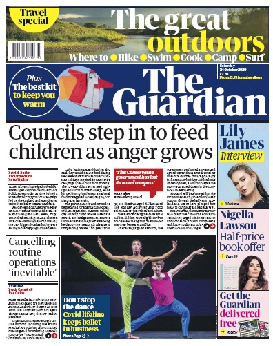 The Guardian Newspaper Front Page (UK) for 24 October 2020