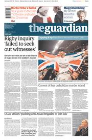 The Guardian (UK) Newspaper Front Page for 24 November 2014