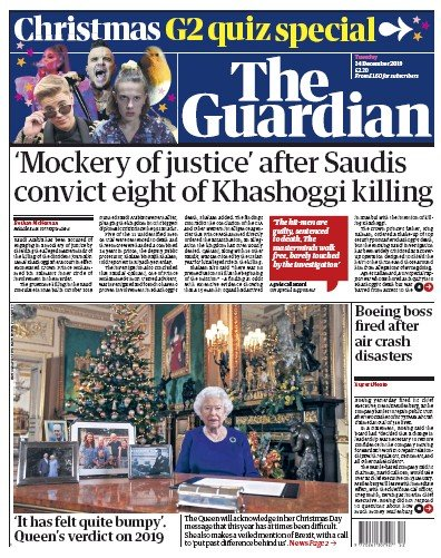 The Guardian Newspaper Front Page (UK) for 24 December 2019