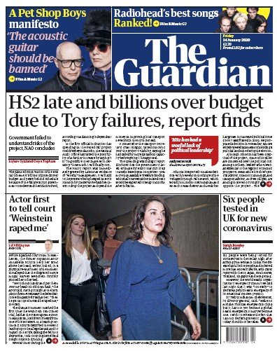 The Guardian Newspaper Front Page (UK) for 24 January 2020