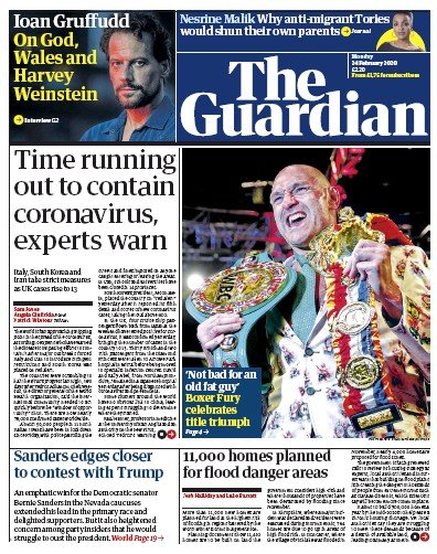 The Guardian Newspaper Front Page (UK) for 24 February 2020