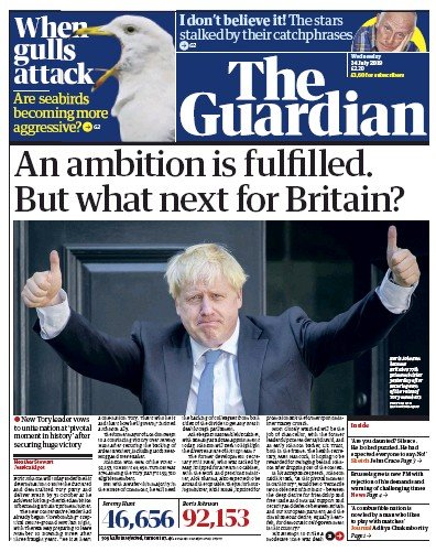 The Guardian Newspaper Front Page (UK) for 24 July 2019
