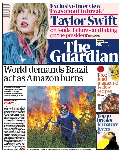 The Guardian Newspaper Front Page (UK) for 24 August 2019