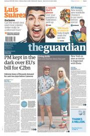 The Guardian (UK) Newspaper Front Page for 25 October 2014