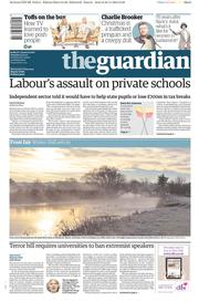 The Guardian (UK) Newspaper Front Page for 25 November 2014