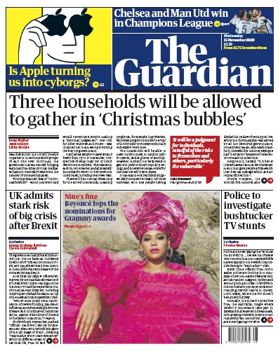 The Guardian Newspaper Front Page (UK) for 25 November 2020