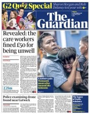 The Guardian (UK) Newspaper Front Page for 25 December 2018