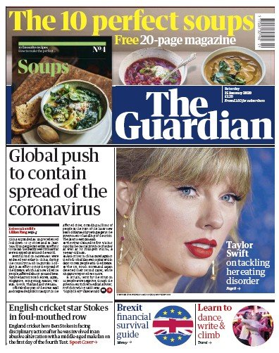 The Guardian Newspaper Front Page (UK) for 25 January 2020