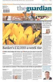 The Guardian () Newspaper Front Page for 25 February 2014