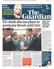 The Guardian () Newspaper Front Page for 25 February 2019