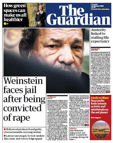 The Guardian Newspaper Front Page (UK) for 25 February 2020