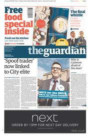 The Guardian (UK) Newspaper Front Page for 25 April 2015