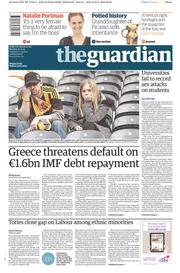 The Guardian (UK) Newspaper Front Page for 25 May 2015