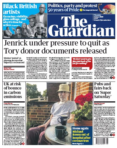 The Guardian Newspaper Front Page (UK) for 25 June 2020